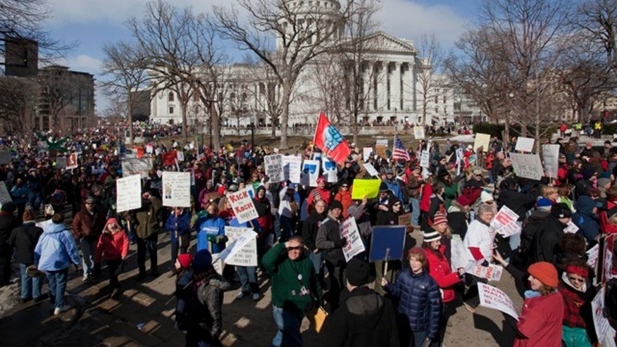 FILE: March 12, 2011: Efforts by Wisconsin's Republican governor to eliminates most union agrees for public employees led to protests, then a failed recall vote.