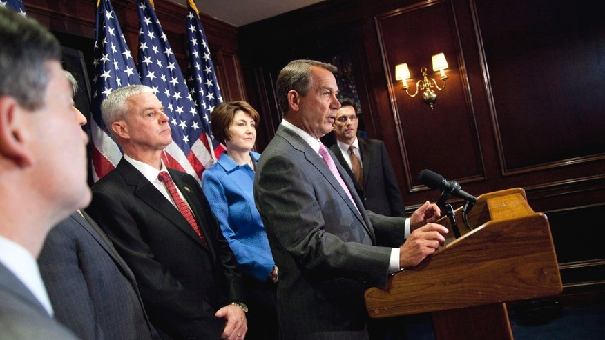March 1: House Speaker John Boehner of Ohio, second from right, speaks during a news conference on Capitol Hill in Washington.