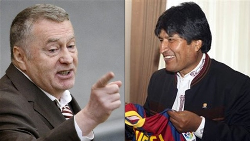 Shown here are Russian political leader Vladimir Zhirinovsky, left, and Bolivian President Evo Morales.