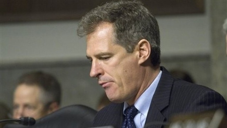 Sen. Scott Brown takes part in a Senate Armed Services Committee hearing on Capitol Hill Feb. 17.
