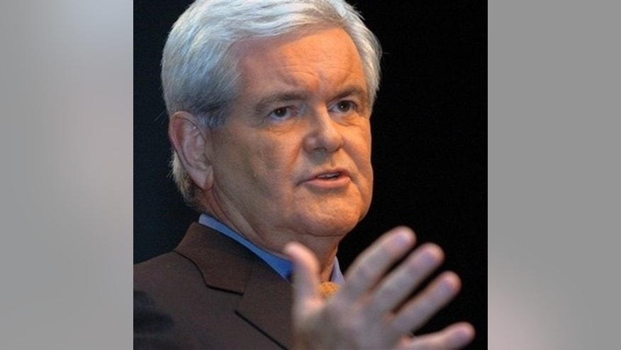 Former U.S. Speaker of the House Newt Gingrich speaks, as he kicks off three days of policy workshops, at the Cobb Galleria Centre, Thursday, Sept. 27, 2007 in Atlanta. (AP Photo/Gregory Smith)