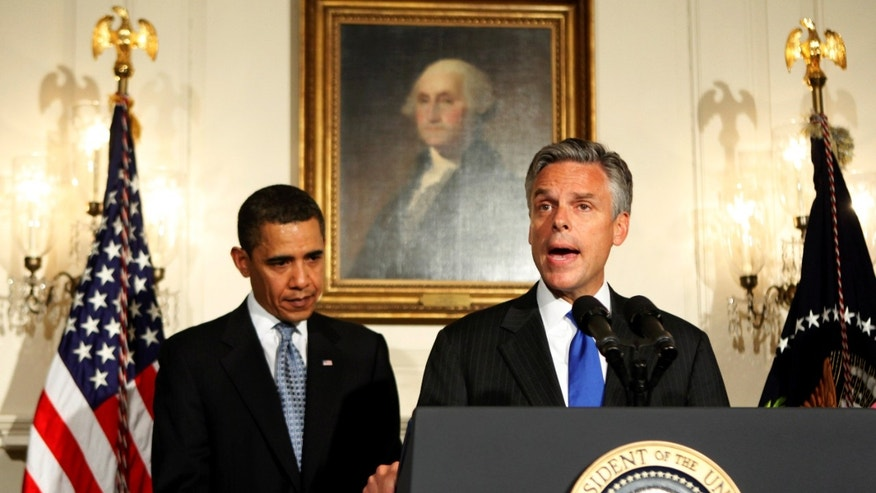 In this May 16, 2009, file photo Utah Governor Jon Huntsman speaks in the Diplomatic Room of the White House in Washington after President Barack Obama, left, announced his nomination to U.S. ambassador to China.  (AP)