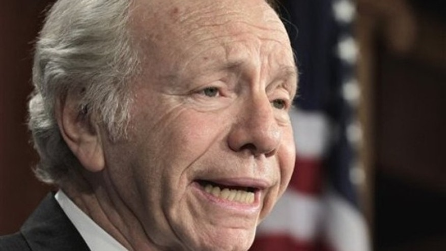 Sen. Joe Lieberman speaks Feb. 3 during a news conference on Capitol Hill in Washington.