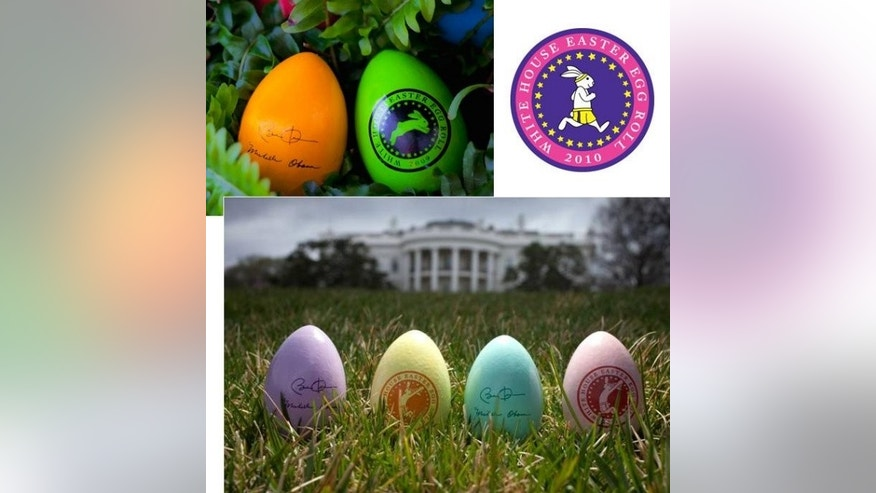 The 2009 Easter eggs, featuring a lifelike rabbit; 2010's logo; this year's assortment of souvenir eggs (Images courtesy The White House).