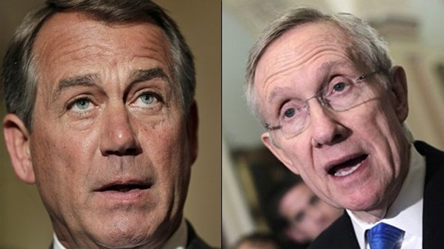 Shown here are House Speaker John Boehner, left, and Senate Majority Leader Harry Reid.