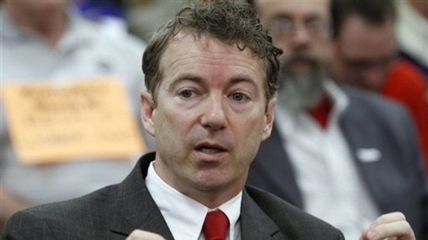 Sen. Rand Paul speaks to a crowd in a Kentucky Senate committee room in Frankfort, Ky., on Feb. 22.