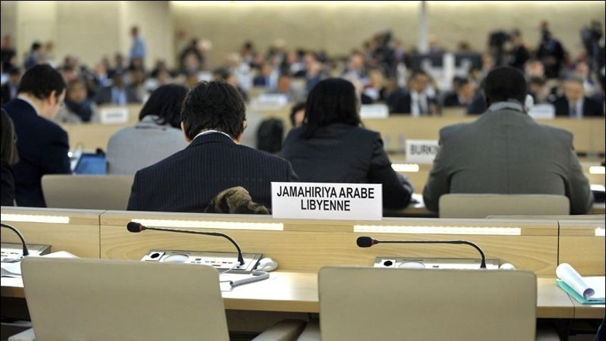 The empty seats of the Libyan delegation are seen in February before a Human Rights Council special session on the situation in Libya at the European headquarters of the United Nations in Geneva, Switzerland.