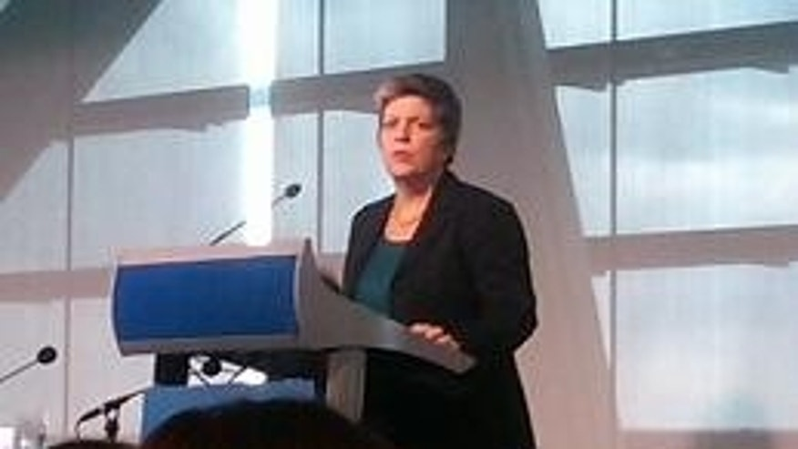 DHS Secretary Janet Napolitano speaks in Washington, Apr. 1