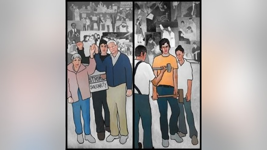 Maine Gov. Paul LePage is removing a 36-foot mural that includes images of worker strikes from the Labor Department's lobby. (Courtesy: Artist Judy Taylor)