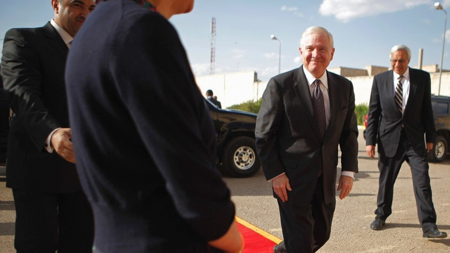 Thursday: Defense Secretary Robert Gates arrives at the presidential palace in Baghdad for a meeting with Iraqi President Jalal Talabani.