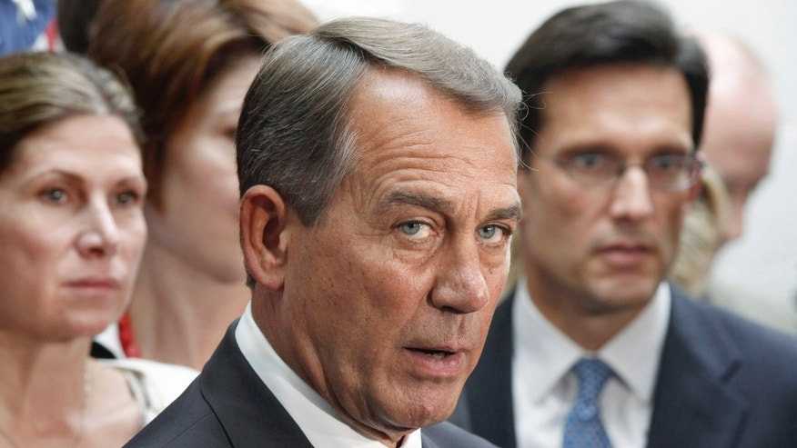 Friday: House Speaker John Boehner of Ohio, accompanied by House Majority Leader Eric Cantor, R-Va. , and others, speaks on Capitol Hill.