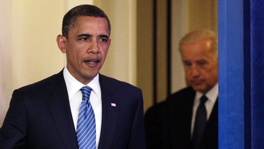 Thursday: President Obama and Vice President Biden enter the White House briefing room to speak to the media after a meeting with House Speaker John Boehner, R-Ohio, and Senate Majority Leader Harry Reid, D-Nev., on the budget and possible government shutdown.