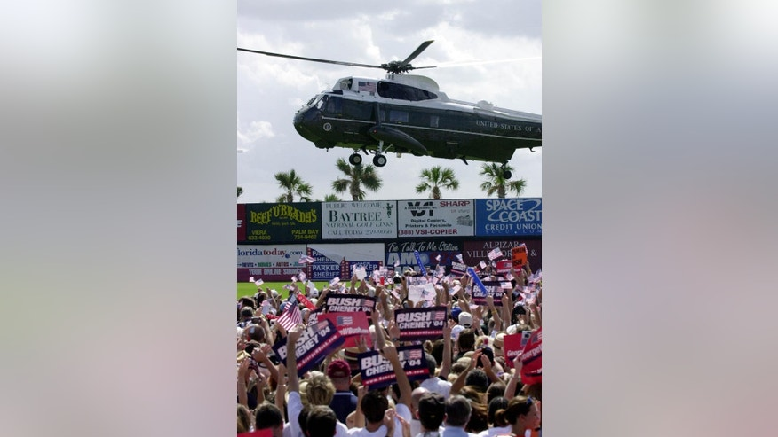 Marine One, carrying President George W. Bush, lands at Space Coast Stadium in Viera, Florida on October 23, 2004.