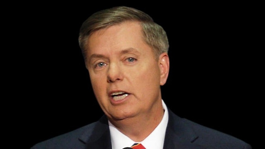 Sen. Lindsey Graham, R-S.C., speaks at the Republican National Convention in St. Paul, Minn., Thursday, Sept. 4, 2008.  (AP Photo/Ron Edmonds)