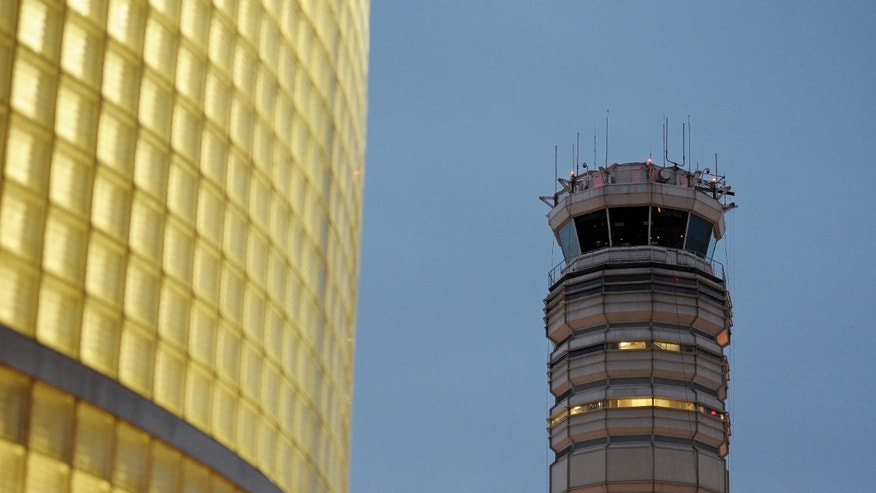 The FAA control tower at Reagan National Airport is seen in Arlington, Wednesday, March 23, 2011. (AP)