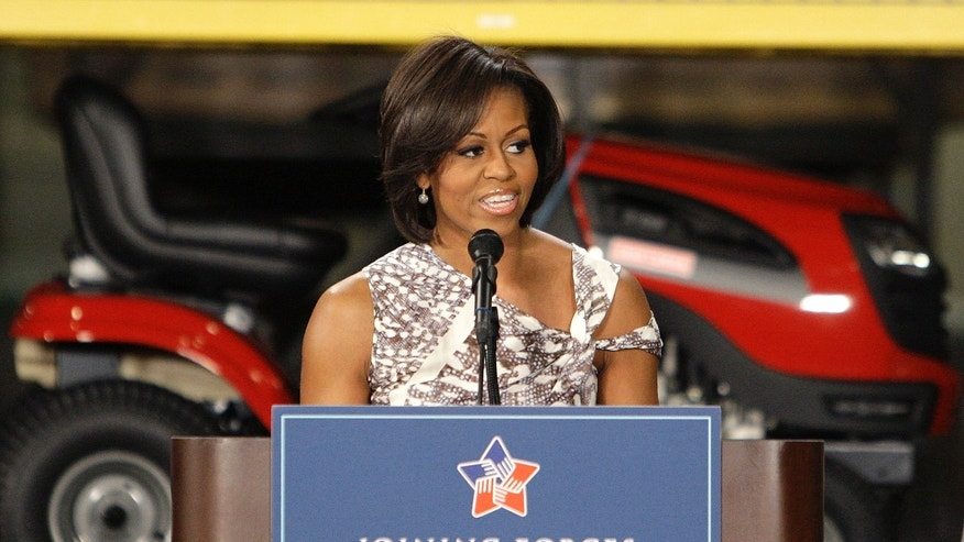 First lady Michelle Obama speaks at a military community event during a national initiative to support and honor America's service members and their families Thursday, April 14, 2011, in Columbus, Ohio. (AP)