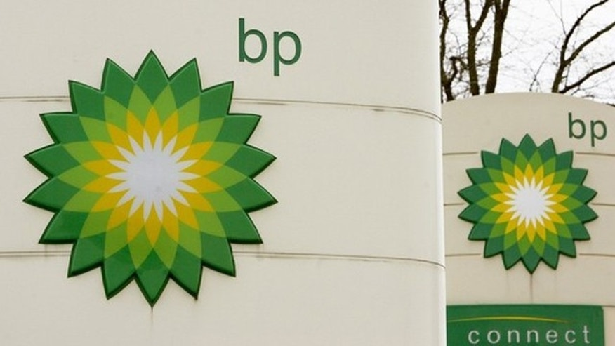BP logos are seen at a one of the company's petrol stations in Grangemouth, Scotland in this April 29, 2008 file photo.