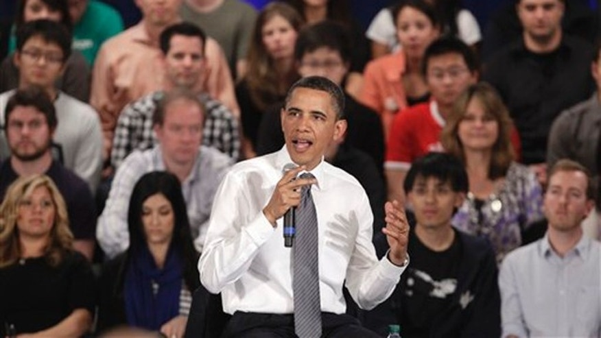 Wednesday: President Obama speaks during a town hall meeting at Facebook headquarters in Palo Alto, Calif.