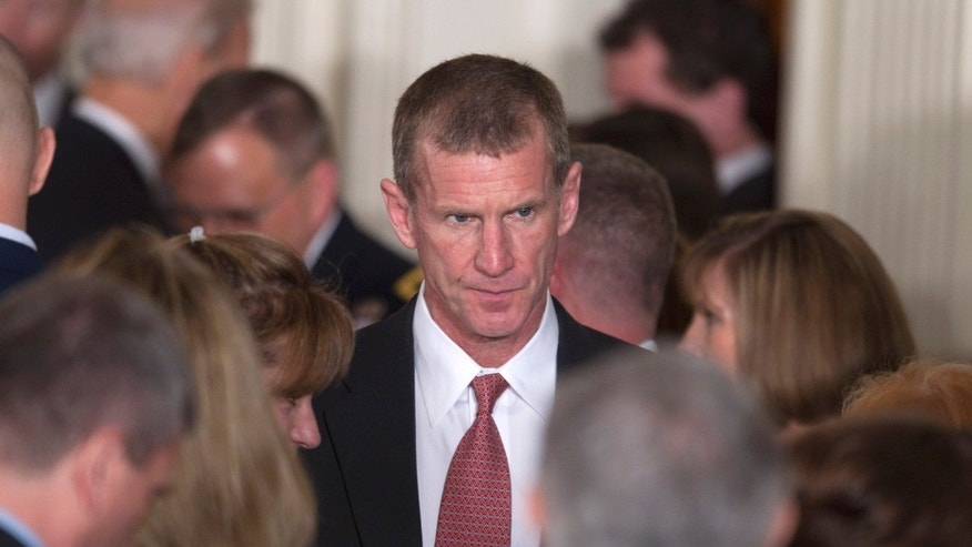 Retired Gen. Stanley McChrystal is seen in the East Room of the White House on Tuesday, April 12, 2011, during an event launch the national initiative to support and honor America's service members and their families. (AP)