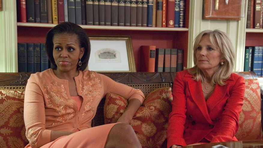 First lady Michelle Obama and Jill Biden, wife of Vice President Joe Biden, are interviewed at the White House in Washington, Tuesday, April 12, 2011. (AP)