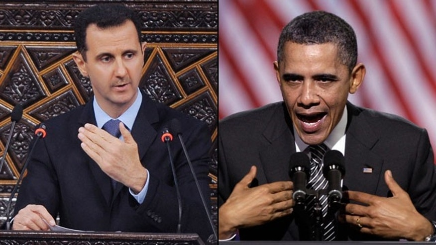 Syrian President Bashar Assad is pushing back against President Obama's condemnation of his violent crackdown on protesters. (AP)