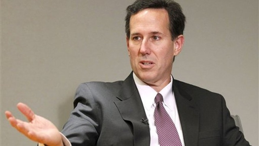 In this Dec. 7, 2010, photo, former Pennsylvania Sen. Rick Santorum is interviewed by The Associated Press in Washington.