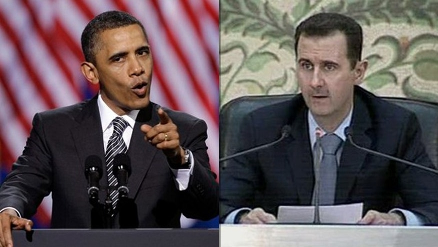 Shown here are Syrian President Bashar Assad, right, and President Obama.