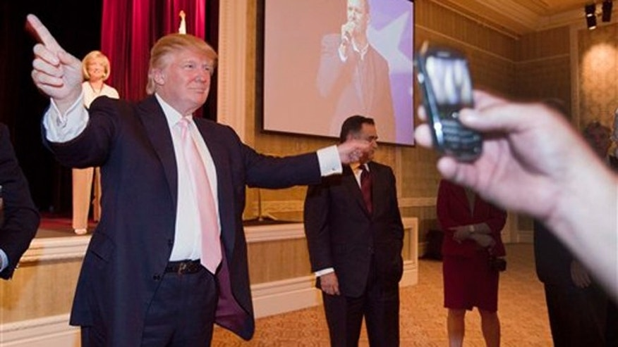 Donald Trump is shown after speaking to a crowd of 600 people during a gathering of Republican women's groups April 28.