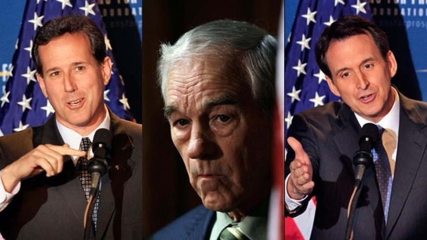 Rick Santorum, Ron Paul and Tim Pawlenty are among the GOP presidential hopefuls participating in the first debate. (AP)