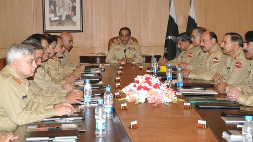 In this Thursday, May 5, 2011 photo provided by Inter Services Public Relation department, Pakistan's army chief General Ashfaq Parvez Kayani, center, presides the Corps Commander conference at General Headquarters in Rawalpindi, Pakistan. (AP)