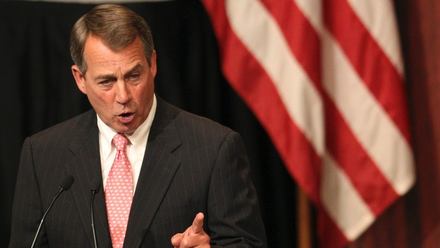 Monday: House Speaker John Boehner gestures as he addresses the Economic Club of New York in New York.