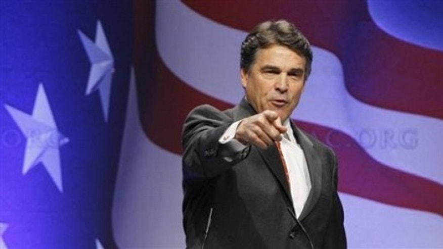 Gov. Rick Perry, R-Texas, speaks at the Conservative Political Action Conference (CPAC) in Washington, Friday, Feb. 11, 2011. (AP)