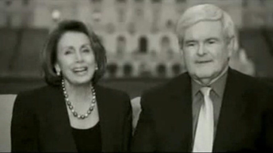 Shown here is an image from an ad former House Speaker Newt Gingrich, right, and then-House Speaker Nancy Pelosi cut for the Alliance for Climate Protection.