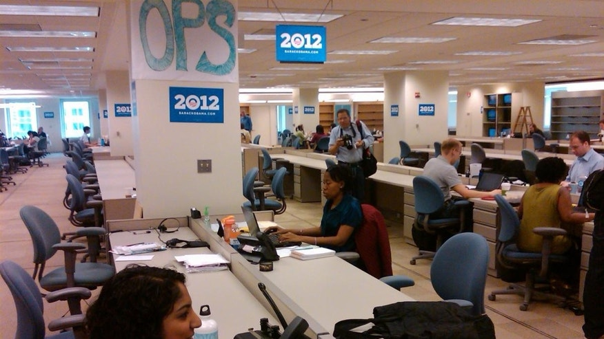 Staffers work at President Obama's new Chicago reelection office.  (Fox News Photo/Marla Cichowski)