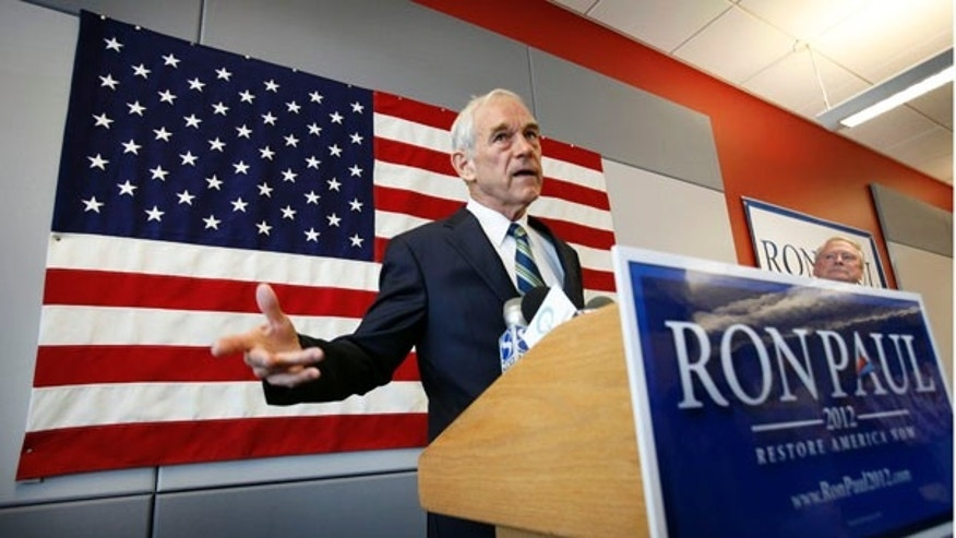 Tuesday: Rep. Ron Paul, R-Texas, speaks during a news conference at his newly opened Iowa campaign office in Ankeny, Iowa.