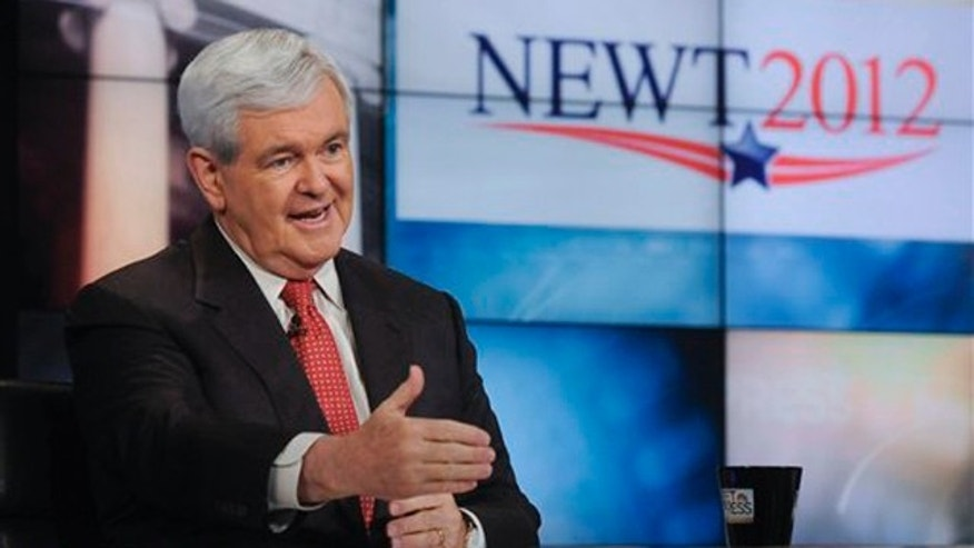 "In this image released May 15 by NBC News, former House Speaker Newt Gingrich is interviewed on NBC's ""Meet the Press"" in Washington."