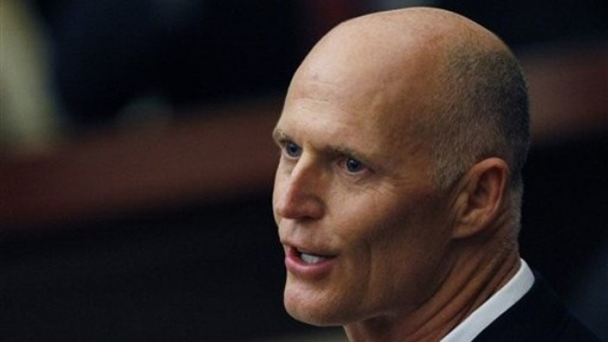 Florida Gov. Rick Scott delivers his state of the state speech to the Florida legislature in Tallahassee March 8.