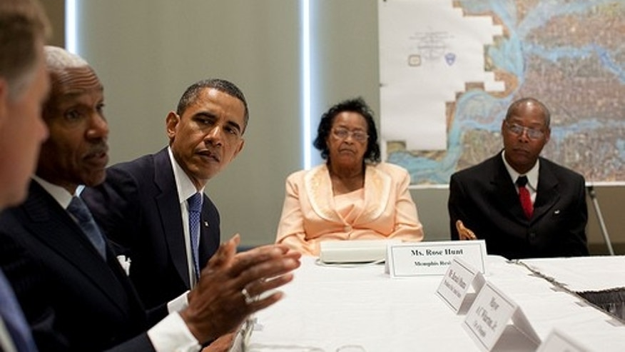 President Barack Obama listens as Memphis Mayor A.C. Wharton speaks during a meeting with elected officials and families affected by the floods in Memphis, Tenn., May 16, 2011.  (Official White House Photo by Pete Souza)