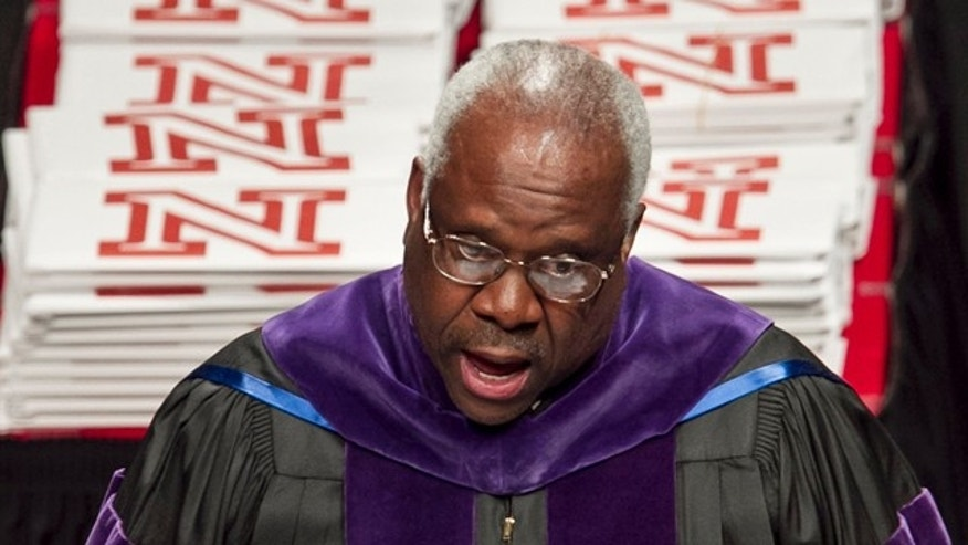 May 7: Supreme Court Justice Clarence Thomas delivers the commencement address to graduates of the University of Nebraska's law school in Lincoln, Neb.