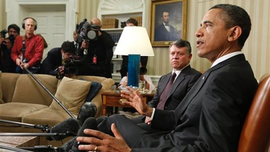 May 17: President Obama meets with Jordan's King Abdullah II in the Oval Office at the White House.
