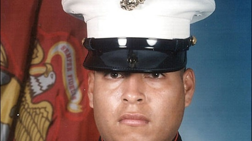 Marine Corps Sgt. Rafael Peralta, who died in Iraq, has been mentioned as an alternative to Cesar Chavez for the name of a cargo ship under construction in San Diego. (U.S. Marines via AP)