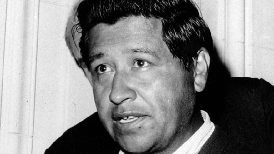 This April 18, 1966 file photo shows Cesar Chavez, leader of the National Farm Workers Association, speaking to the press in San Francisco, Calif. (AP)
