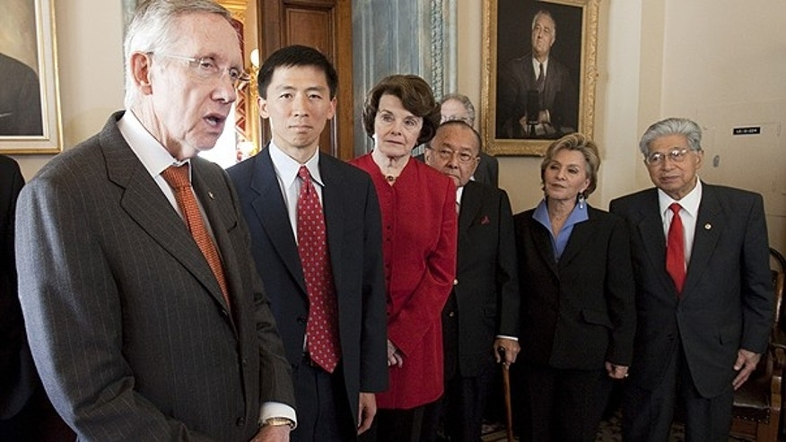 May 18: Senate Majority Leader Harry Reid, D-Nev., with judicial nominee Goodwin Liu, and Sens. Diane Feinstein, D-Calif., Daniel Inouye, D-Hi., Barbara Boxer, D-Calif., and Daniel Akaka, D-Hi. where Reid talked in Washington, about pending vote on Mr. Liu to the 9th Circuit Court of Appeals, tomorrow, on Capitol Hill in Washington.