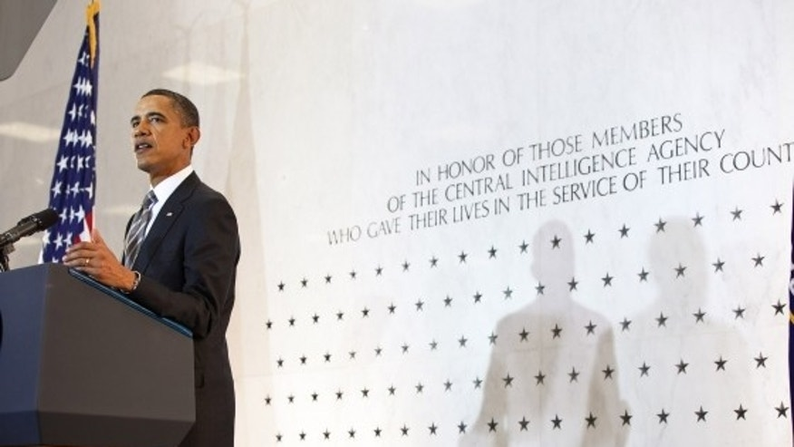 President Barack Obama delivers remarks to the intelligence community in the lobby of the Old CIA headquarters in Langley, Va., May 20, 2011. The backdrop is the CIA Wall of Stars. (Official White House Photo by Pete Souza)