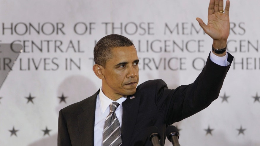 President Obama waves to CIA employees after speaking at CIA headquarters in Langley, Va., Friday, May 20, 2011. (AP)