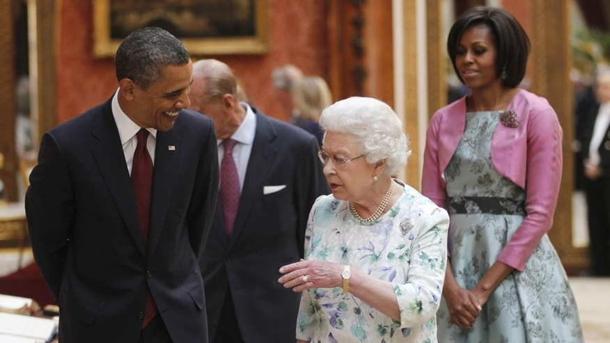 President Barack Obama, first lady Michelle Obama, Britain's Queen Elizabeth II and Prince Philip tour the Portrait Gallery at Buckingham Palace in London, Tuesday, May 24, 2011. (AP Photo/Charles Dharapak)