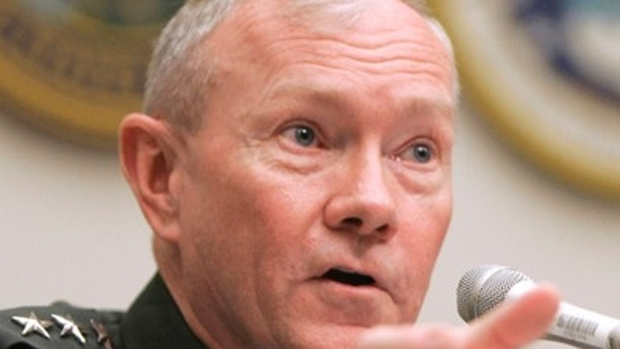 In this June 12, 2007 file photo, Army Lt. Gen. Martin Dempsey testifies on Capitol Hill in Washington. Dempsey, a general who just last month was installed as the Army's top officer has emerged as a surprise front runner in President Barack Obama's search for his next top military adviser, the final move in Obama's drive to reshuffle the upper tier of his national security team. (AP/File)