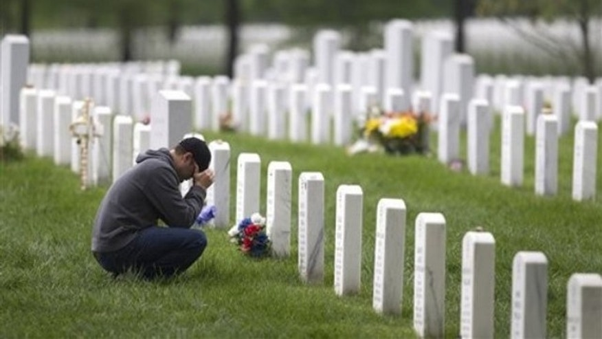 A former Marine is shown at Arlington National Cemetery in Arlington, Va., May 2.