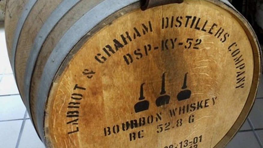 A bourbon barrel is seen at the Woodford Reserve distillery in Versailles, Ky., May 11.