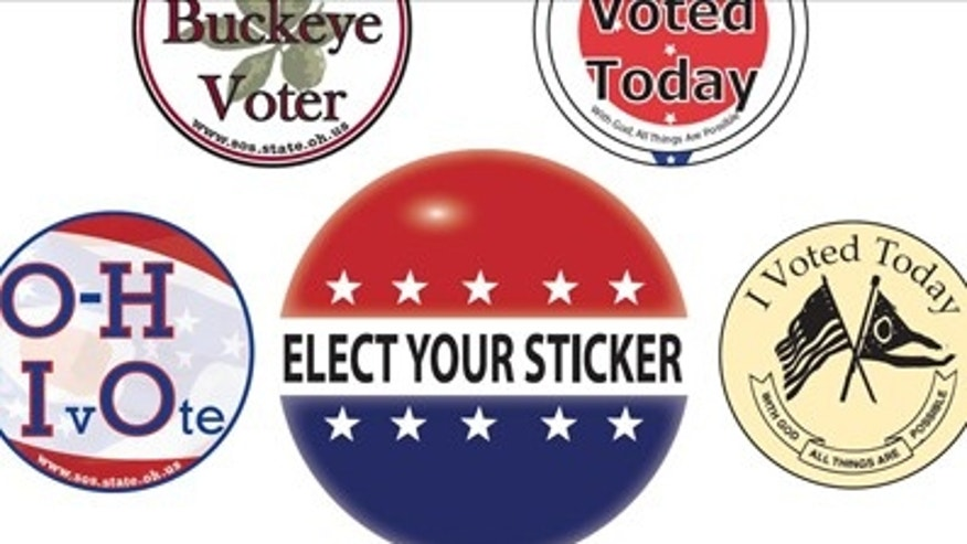 Choices available to voters in Ohio's poll sticker contest.